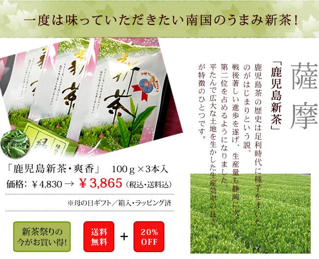 母の日贈り物が送料無料/薩摩茶セット